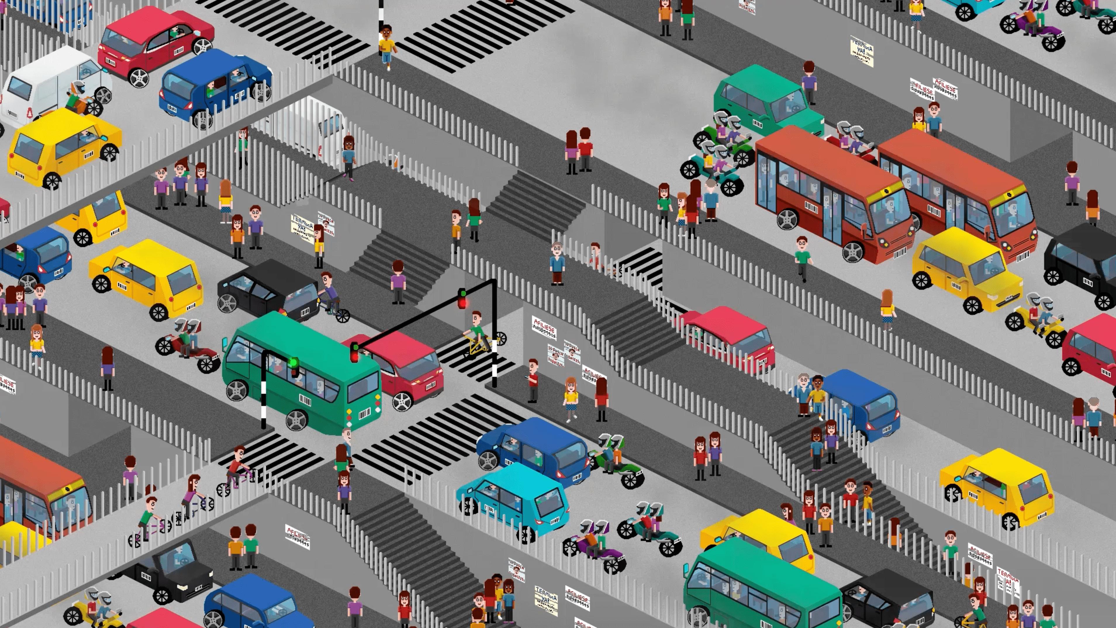 Animación tráfico ciudad.